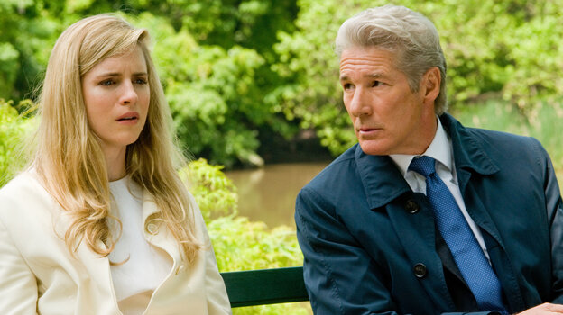 Robert Miller (Richard Gere) struggles to hide his financial indiscretions from his daughter (Brit Marling) in Arbitrage.