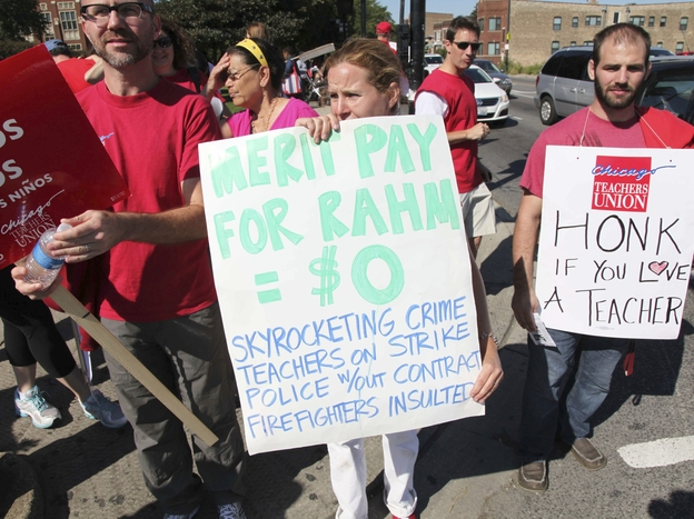One of the primary disputes in the Chicago Public Schools teachers' strike is over Mayor Rahm Emanuel's proposal to link teacher pay to student performance.