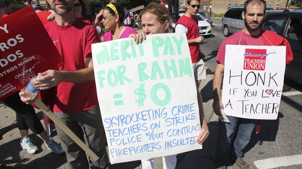 One of the primary disputes in the Chicago Public Schools teachers' strike is over Mayor Rahm Emanuel's proposal to link teacher pay to student performance. (AP)