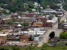 "Towns near the Ohio River, including Steubenville, seen here in 2009, are home to many undecided voters. One of them, Brian Snider, says, ""This is pretty much a ghost town."""