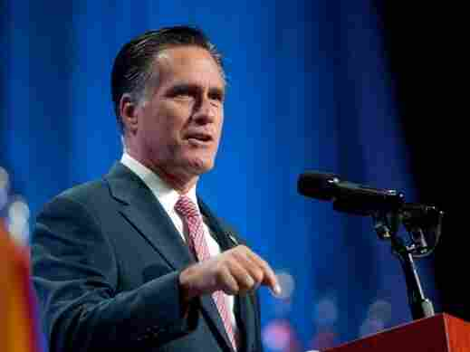 Republican presidential candidate, former Massachusetts Gov. Mitt Romney addresses the crowd at the 134th National Guard Association Convention at the Reno-Sparks Convention Center, September 11, 2012 in Reno, Nevada.