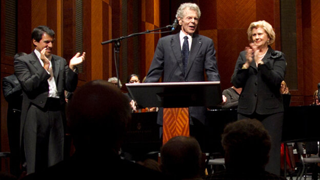 Pianist Van Cliburn made a surprise appearance at the 50th Anniversary Van Cliburn Competition Gold Medalists concert in Fort Worth, Texas Sept. 6.
