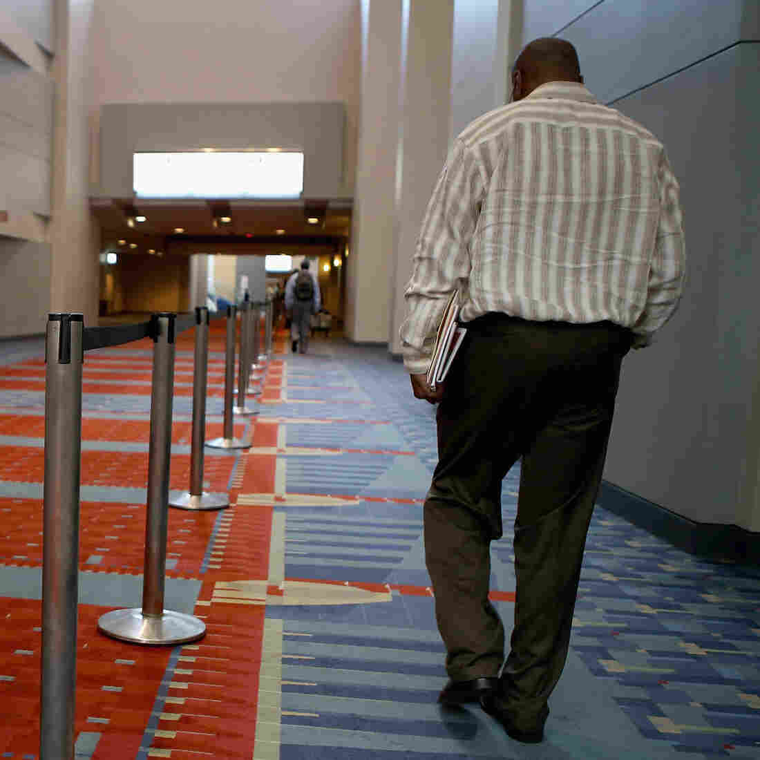 "A job fair was held at the The Walter E. Washington Convention Center in Washington, D.C., last month. The U.S. unemployment rate declined in August in part because the number of ""discouraged workers"" climbed."