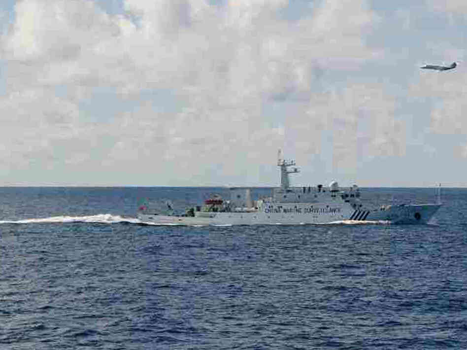 A Chinese surveillance ship near the disputed islands, called Senkaku in Japan and Diaoyu in China, in the East China Sea on Friday.