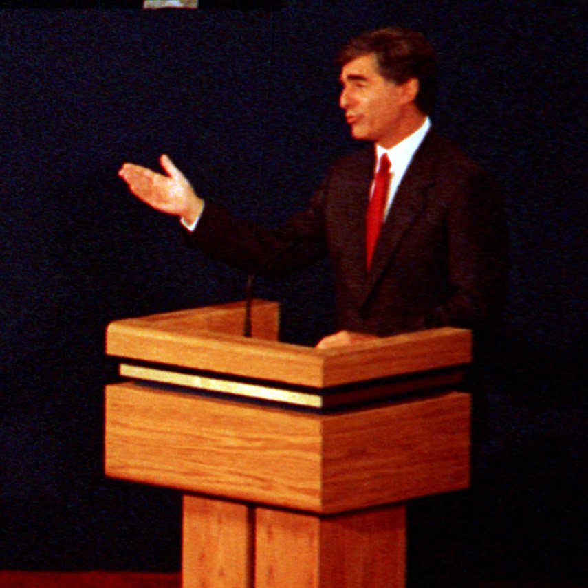 This is the first of two 1988 debates between George H.W. Bush and Michael Dukakis. In the second debate, the answer Dukakis gave to a question about whether he would support the death penalty if his wife were raped and murdered was considered a huge blunder.