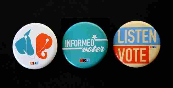 The three winning designs for 2012 NPR Election Buttons.