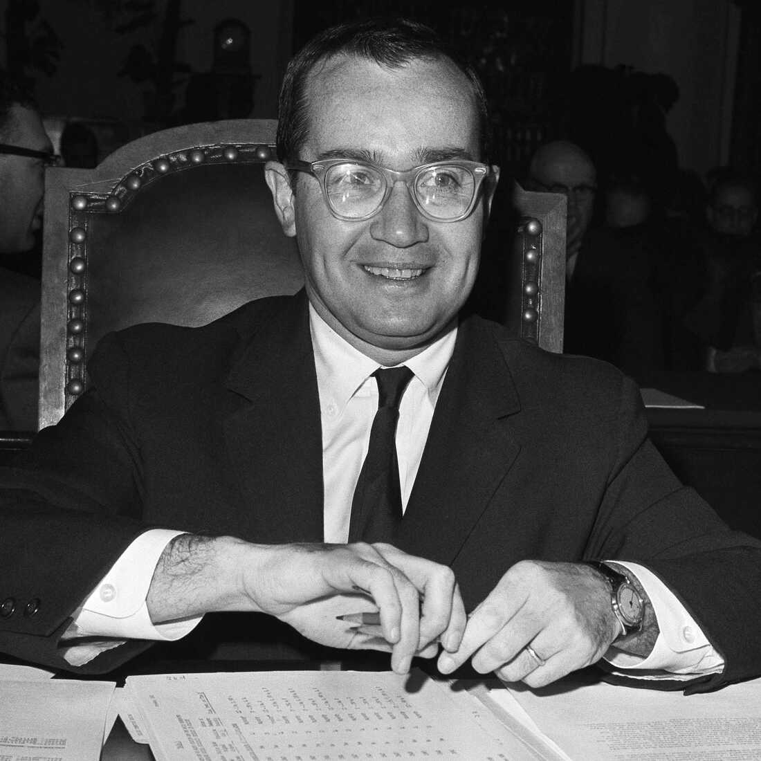 Newton Minow, chairman of the Federal Communications Commission, appears before the House Antitrust Subcommittee probing newspaper competition, March 13, 1963.