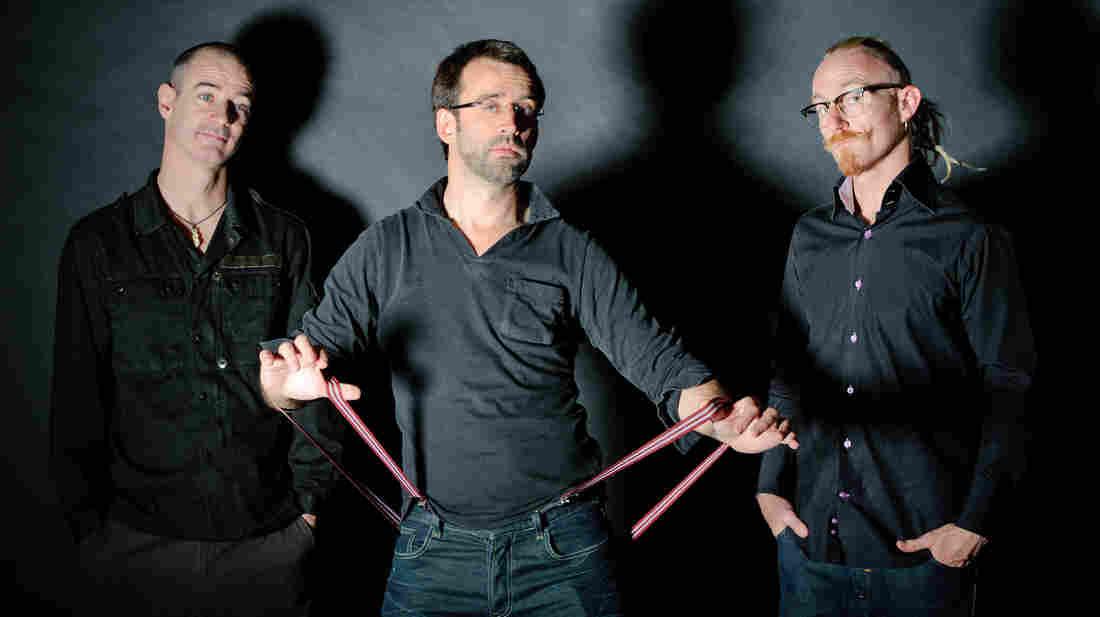 The Neil Cowley Trio is: (L-R) Evan Jenkins, Cowley, Rex Horan.