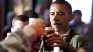 President Obama toasts others at the Dubliner Restaurant and Pub in Washington, D.C., on March 17.