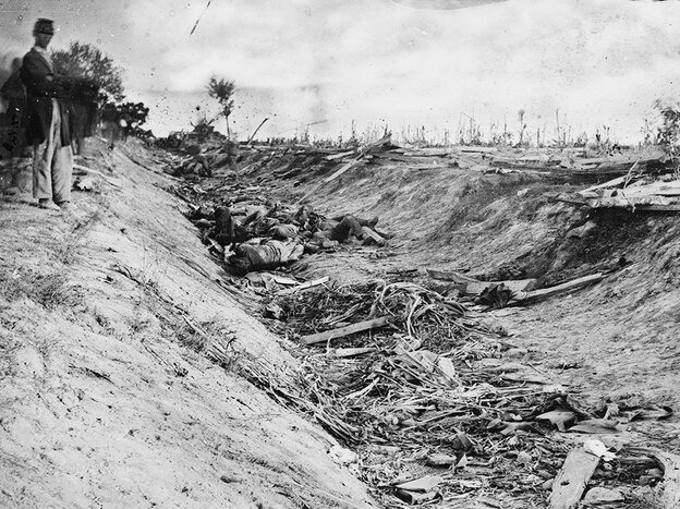 """Between two farm fields in Sharpsburg, Md., there was a sunken road, which Confederates used as a rifle pit until they were overrun by federal troops. The road has since been known as """"Bloody Lane."""""""