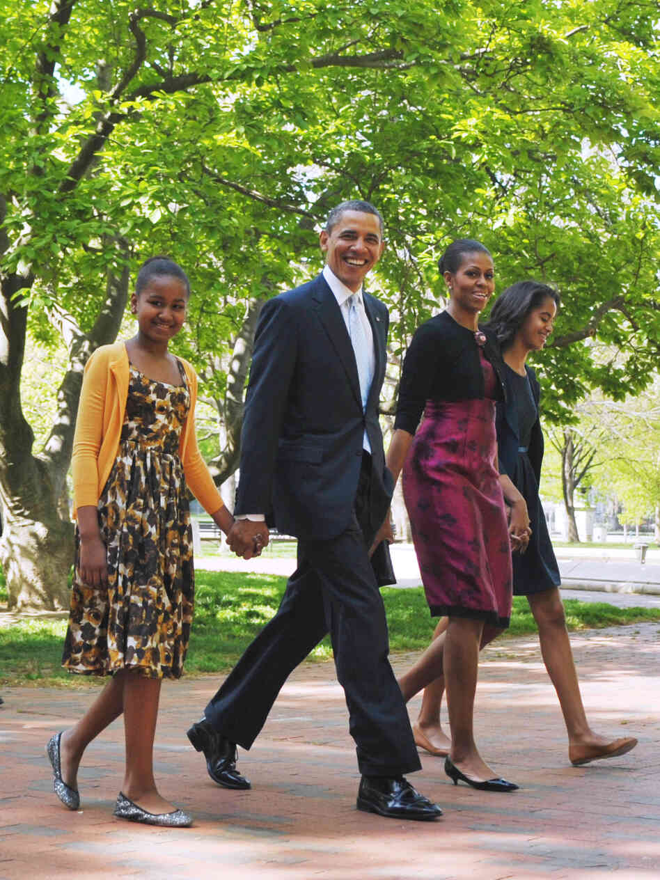The Obamas walk back to the White House after attending Easter service at St. John's Episcopal Church on April 8. President Obama is the only Protestant on either 2012 presidential ticket.