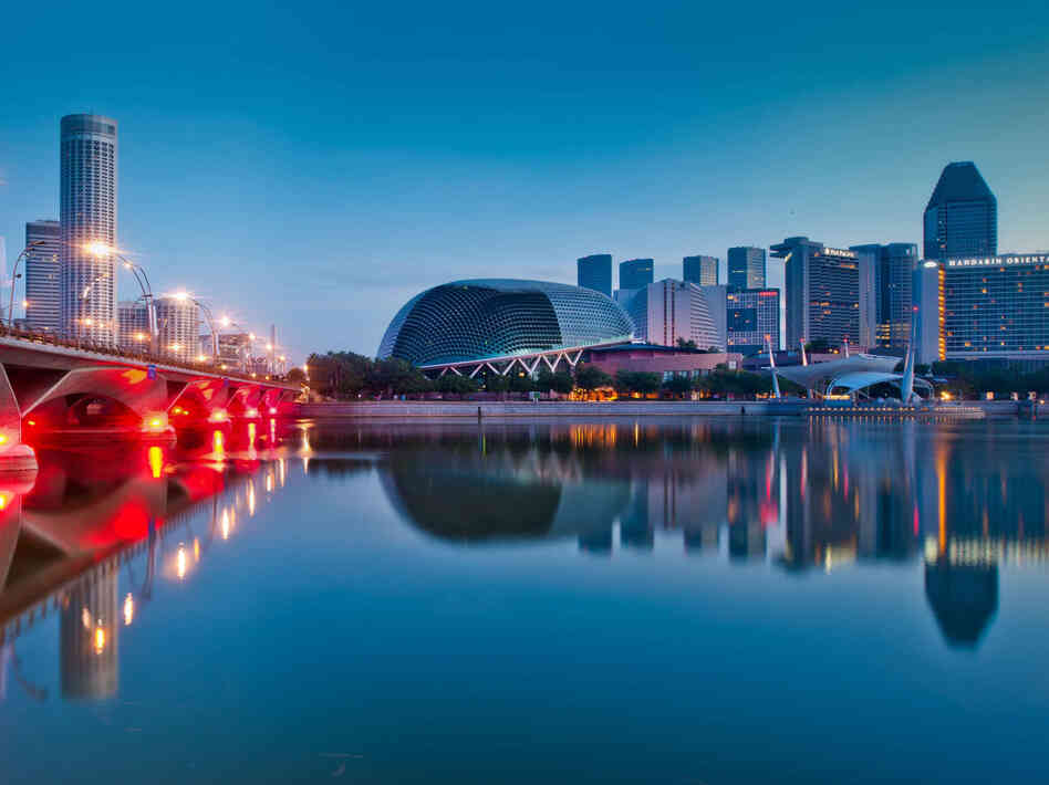 A reflection of the Marina Bay Esplanade in Singapore. The nation is increasingly seen as a corporate logistics hub and gateway to the region's emerging markets.