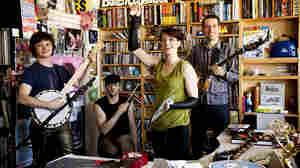 Amanda Palmer and The Grand Theft Orchestra during Tiny Desk at NPR. (Kainaz Amaria/NPR)