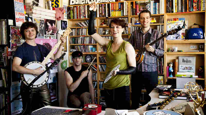 Amanda Palmer and The Grand Theft Orchestra during Tiny Desk at NPR. (Kainaz Amaria/NPR)