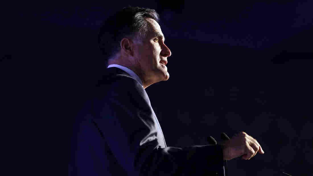 Republican presidential nominee Mitt Romney addresses the U.S. Hispanic Chamber of Commerce Monday in Los Angeles.
