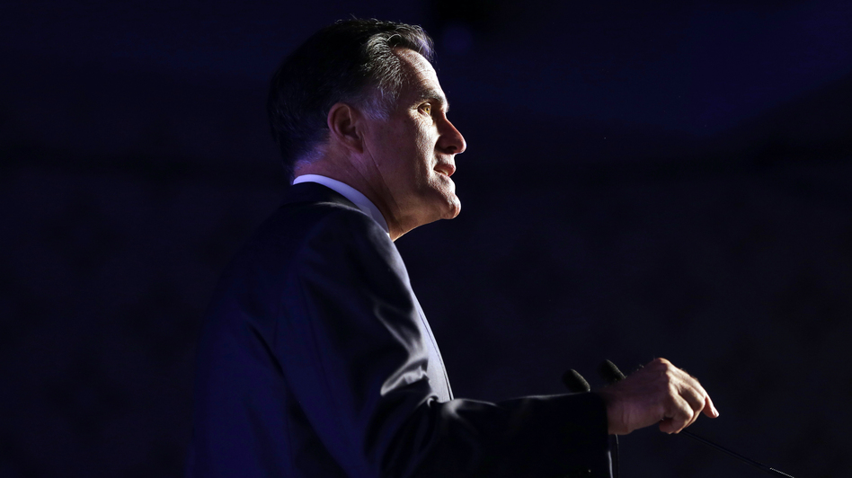 Republican presidential nominee Mitt Romney addresses the U.S. Hispanic Chamber of Commerce Monday in Los Angeles. (AP)