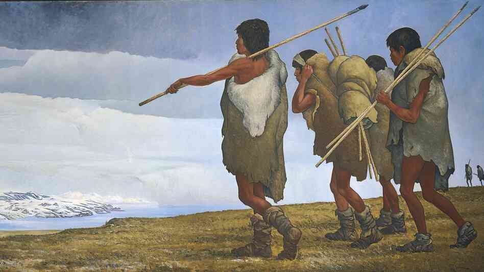 An artist's re-creation of the first human migration to North America from across the Bering Sea.