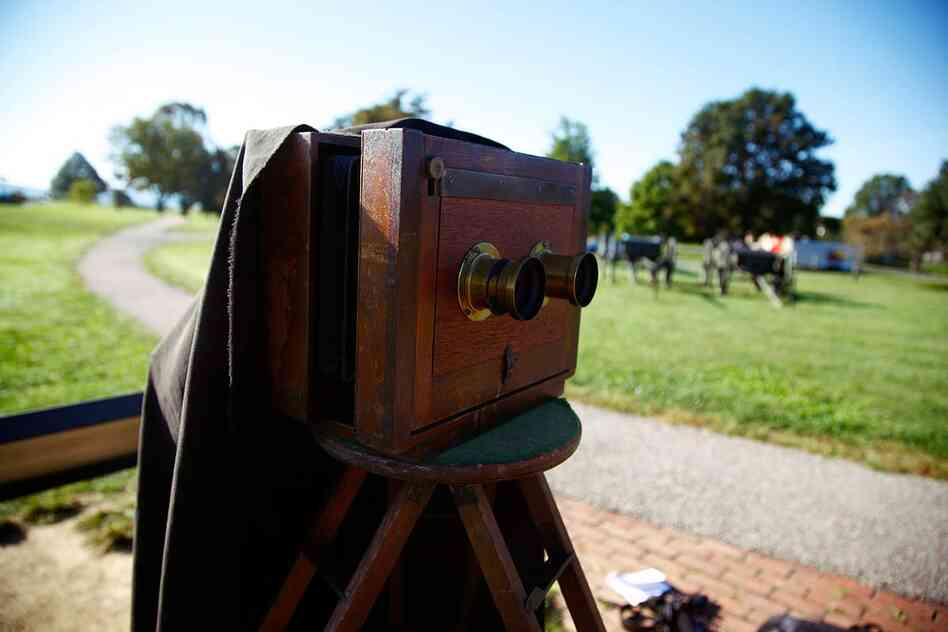 "The wet-plate camera used by Alexander Gardner after the Battle of Antietam was like this one: It had two lenses, which created a ""stereo"" image, or two identical images side by side on one plate."