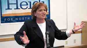 North Dakota Democratic Senate candidate Heidi Heitkamp speaks in Minot, N.D.