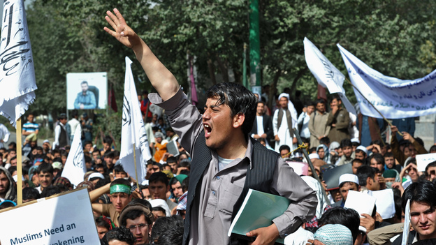 There were also anti-American protests in Kabul on Sunday. (AFP/Getty Images)