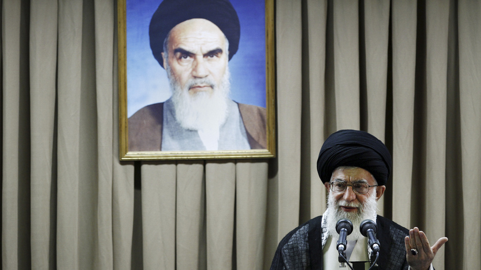 Iranian Supreme Leader Ayatollah Ali Khamenei delivers a speech in Tehran in July. Khamenei says Western-led sanctions will not force Iran to change its policies, but there are signs of other concerned voices in Iran. (AP)