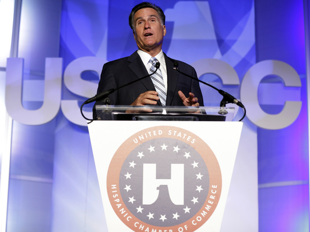 Republican presidential nominee Mitt Romney made his pitch for Latino votes at the U.S. Hispanic Chamber of Commerce convention in Los Angeles on Monday. (AP)