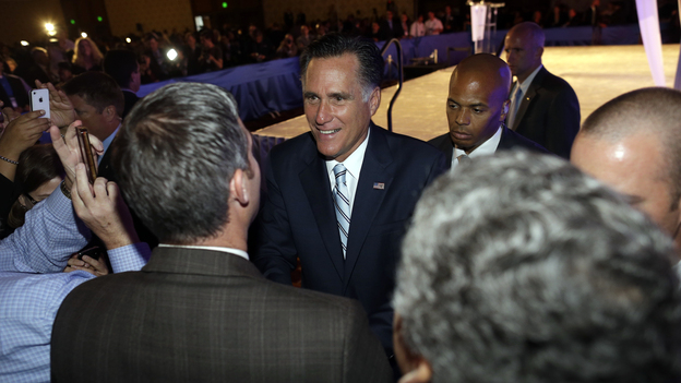 Republican presidential nominee Mitt Romney meets audience members after he addressed the U.S. Hispanic Chamber of Commerce in Los Angeles on Monday. (AP)