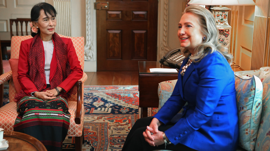 Nobel Peace Prize winner Aung San Suu Kyi of Myanmar, also known as Burma, began a lengthy visit to the U.S. by meeting Secretary of State Hillary Clinton on Tuesday in Washington. Suu Kyi, the opposition leader who was under house arrest for 15 years, is now free to travel and has been welcomed abroad as if she were a head of state. (Getty Images)