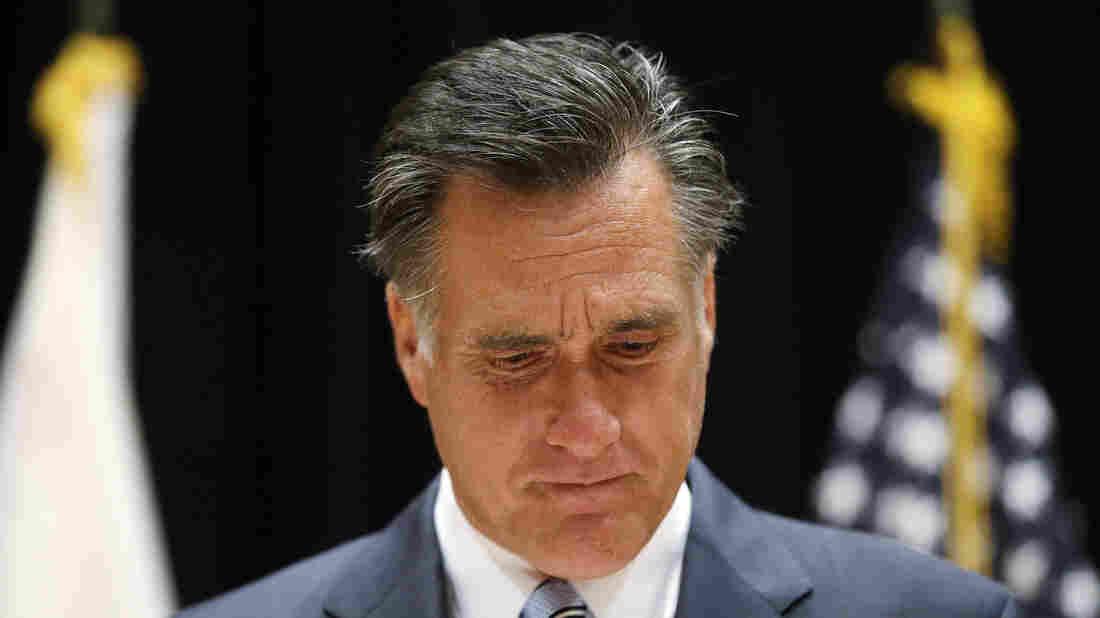 Republican presidential nominee Mitt Romney speaks to reporters Monday in Costa Mesa, Calif.