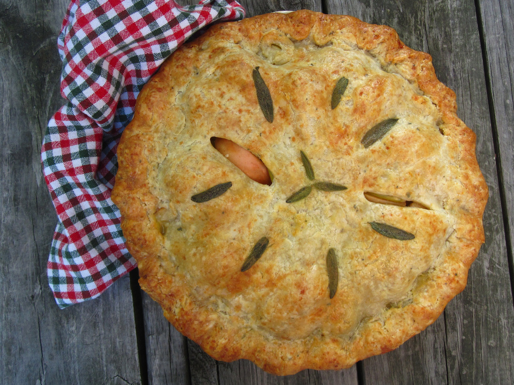 Pork And Apple Pie With Cheddar Sage Crust