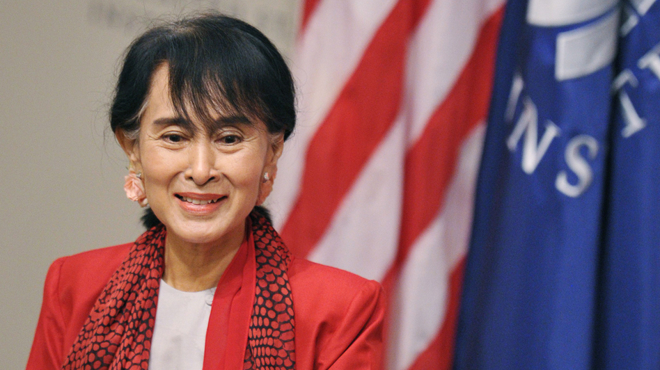 Myanmar's Member of Parliament and democracy icon Aung San Suu Kyi speaks at the United States Institute of Peace in Washington, DC. The Nobel Peace Prize laureate is making her first visit to the U.S. in twenty years. (AFP/Getty Images)