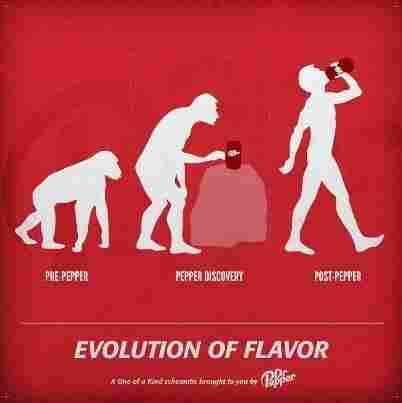 Dr Pepper's Facebook ad is the latest riff on a 1965 evolutionary graphic, which apparently still has the power to provoke.