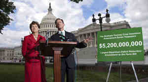 Sens. Jeanne Shaheen, D-N.H., and Pat Toomey, R-Pa., talk to reporters about the farm bill at the U.S. Capitol in June.