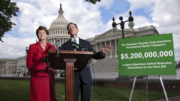 Sens. Jeanne Shaheen, D-N.H., and Pat Toomey, R-Pa., talk to reporters about the farm bill at the U.S. Capitol in June. (AP)