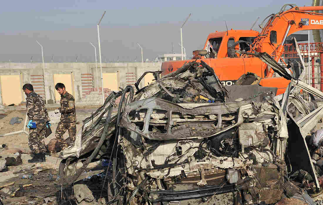 A suicide bomber struck a convoy of buses today in Kabul, killing at least 12 people — mostly foreigners.