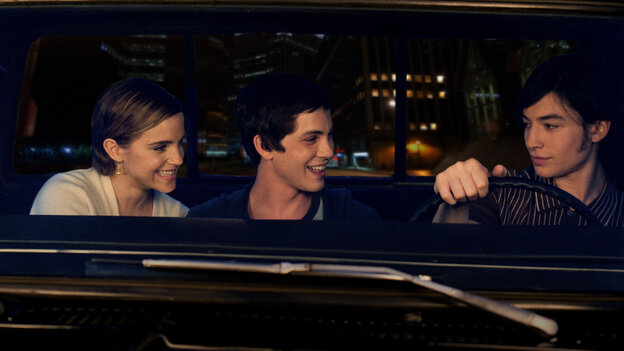 Sam (Emma Watson), Charlie (Logan Lerman) and Patrick (Ezra Miller) help each other through the lowest parts of high school in The Perks of Being a Wallflower.