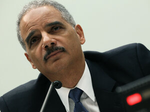 Attorney General Eric Holder testifies during a House Judi