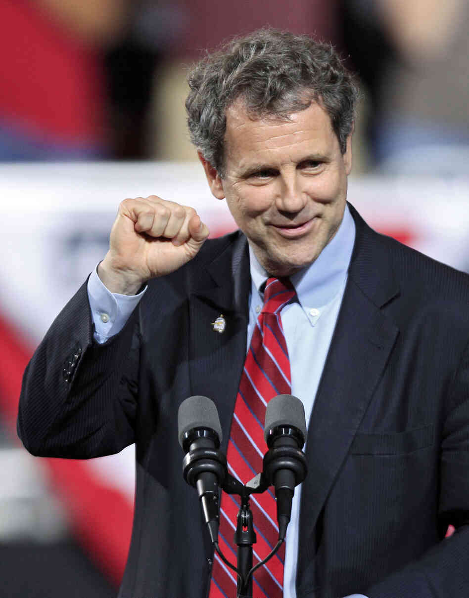 Sen. Sherrod Brown speaks before a campaign rally for President Obama at Ohio State University in Columbus on May 5.