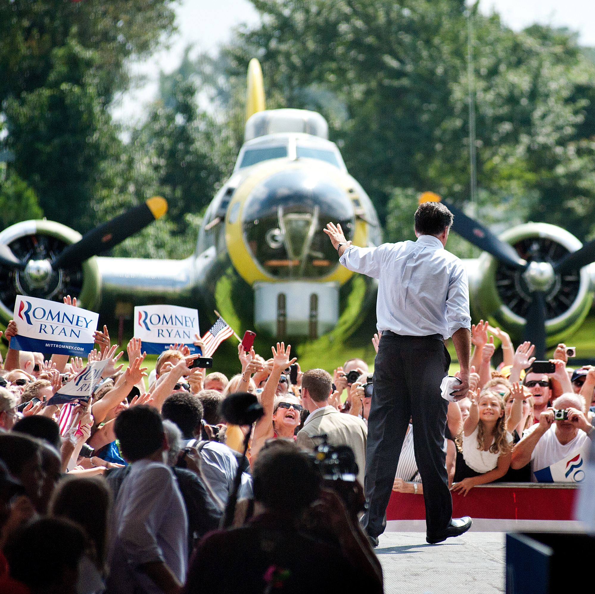 Mitt Romney campaigns at the Military Aviation Museum in Virginia Beach, Va., on Sept. 8.