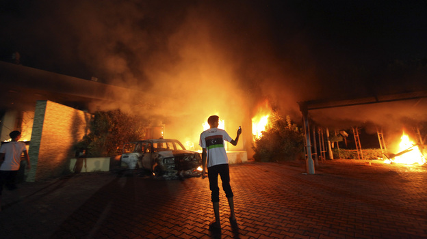 The U.S. Consulate in Benghazi, Libya, was in flames during an attack on Sept. 11. There are competing narratives on whether the attack was premeditated. (Reuters /Landov)