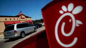 "A Chick-fil-A in Fort Worth, Texas, on ""appreciation day"" last month."