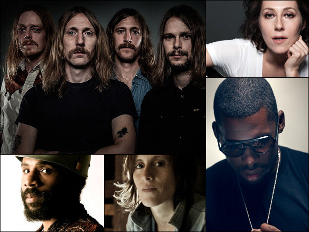 Graveyard (clockwise from upper left), Martha Wainwright, Flying Lotus, Sera Cahoone, and Cody ChesnuTT.