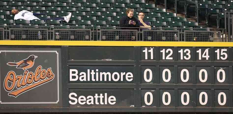 Fans were few and far-between (and possibly not awake) as the Orioles-Mariners game went on and on in Seattle.