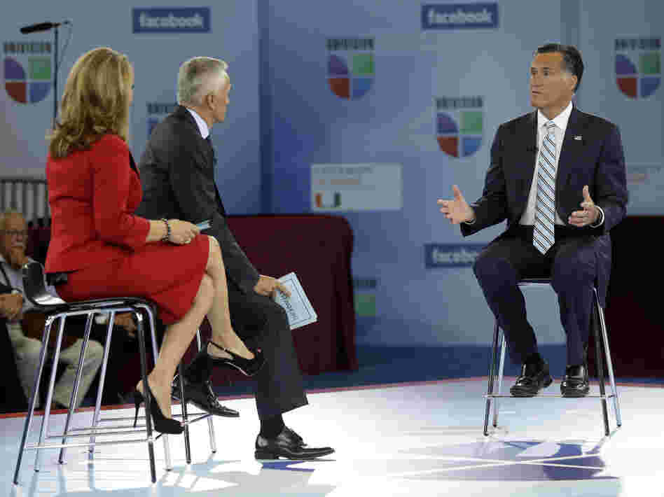 "Mitt Romney said on Univision that his campaign is about ""the 100 percent"" after he was asked about his ""47 percent"" comment."