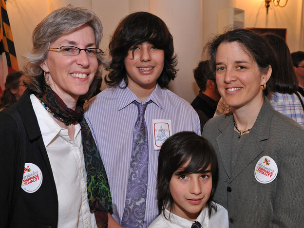 In March, Stacey Kargman-Kaye (left) and her partner, Sharon Gorenstein, with sons Asher, 13, and Ezra, 8, gathered at the Maryland Statehouse in Annapolis to witness the signing of a law recognizing same-sex marriage. On Nov. 6, Maryland voters will decide whether to overturn the new law.