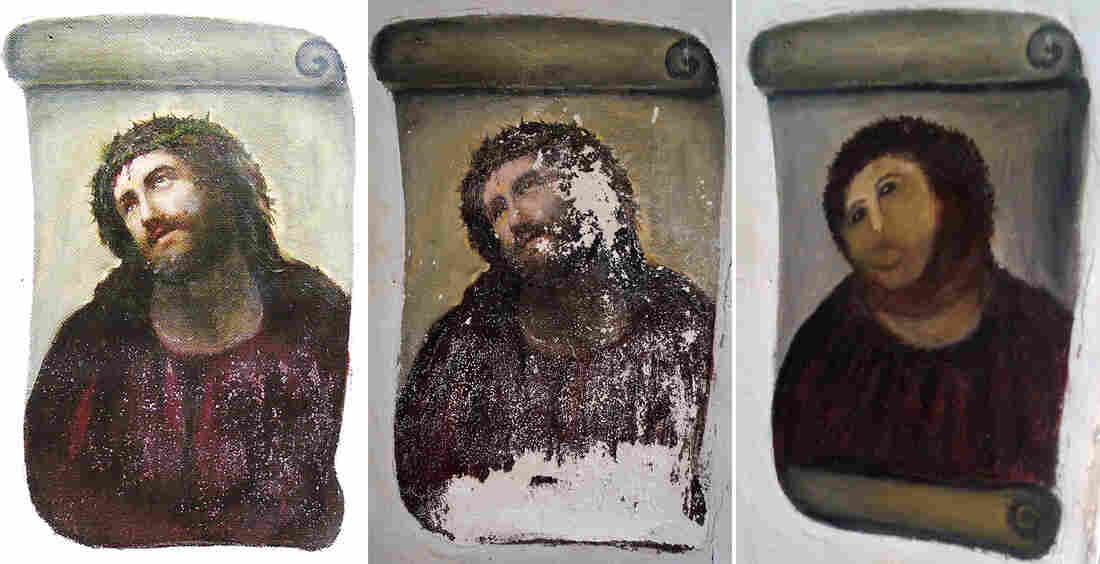 """Three images: How the fresco should look (left); how it looked before the """"restoration"""" (center); and what it looked like after Cecilia Gimenez was done."""