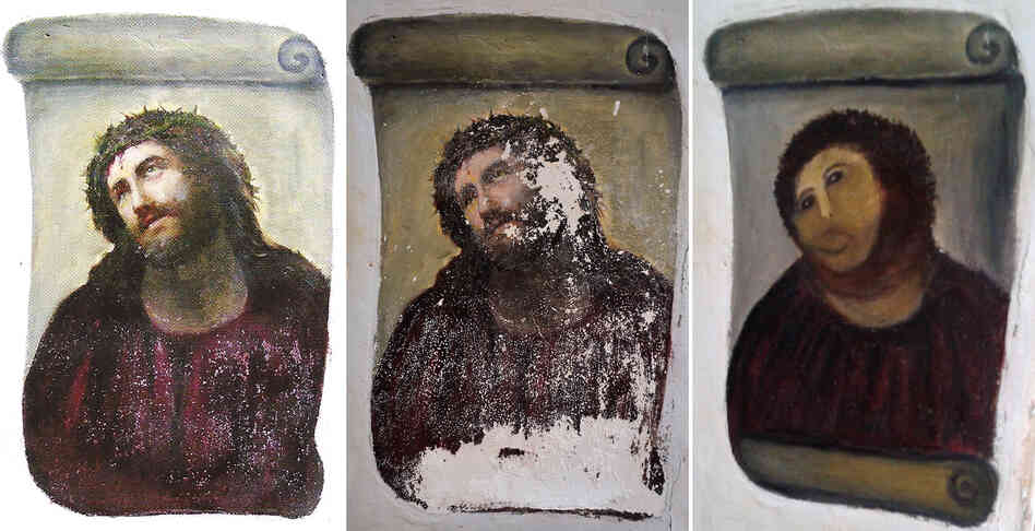 "Three images: How the fresco should look (left); how it looked before the ""restoration"" (center); and what it looked like after Cecilia Gimenez was done."