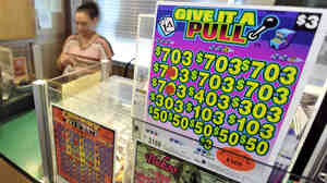 Booths that sell paper pull-tab games like this one have new competition in Minnesota: electronic pull-tab games played on iPads. The games are meant to help pay for a new football stadium in Minneapolis.