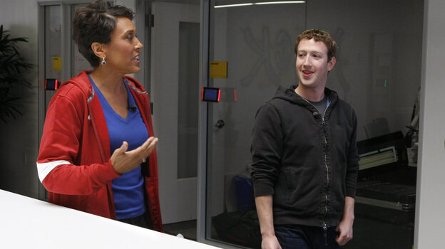 ABC's Robin Roberts, host of Good Morning America, (left) talks with Mark Zuckerberg, the founder and CEO of Facebook, in late April about the social network's push to get users to enroll as organ donors. This week Roberts is expected to receive a bone marrow transplant to treat  myelodysplastic syndrome.