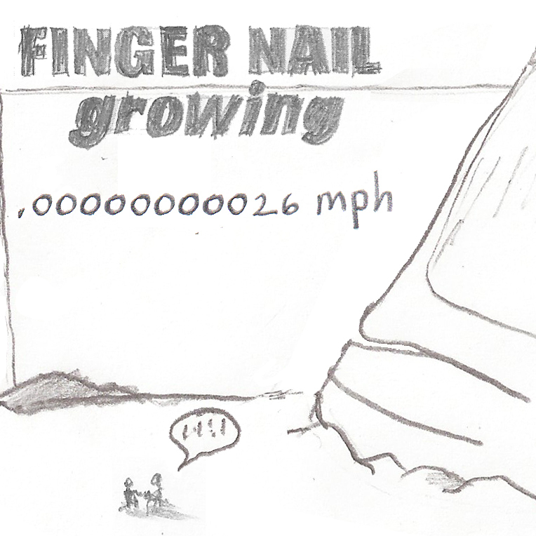 Fingernail growing.